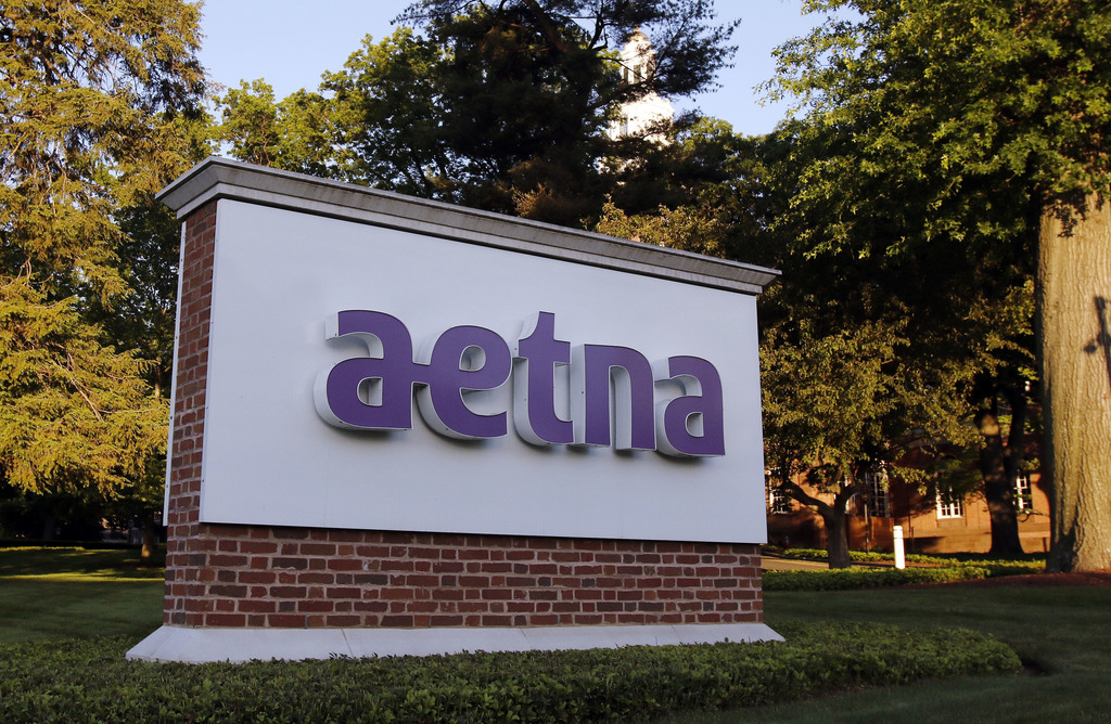 This Thursday, June 1, 2017, photo, shows a sign on the campus of the Aetna headquarters, in Hartford, Conn. Aetna Inc. reports earnings, Thursday, Au...