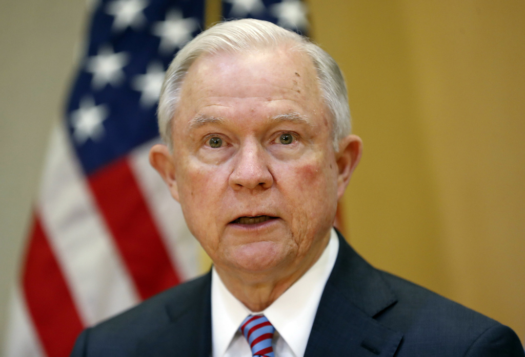 FILE - In this July 27, 2017, file photo, U.S. Attorney General Jeff Sessions speaks in San Salvador, El Salvador. New White House chief of staff John...