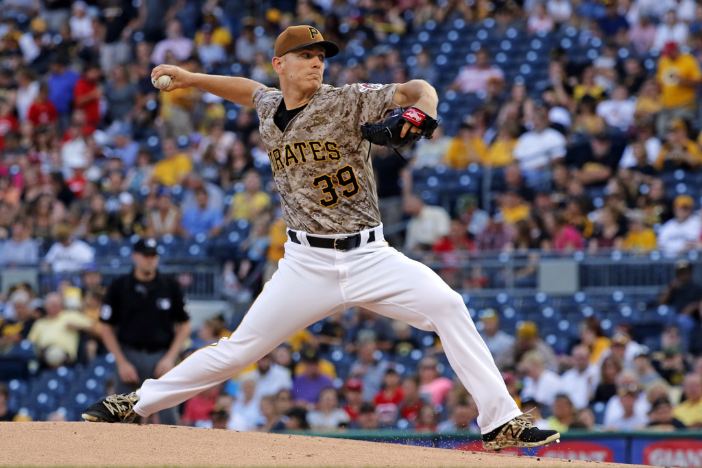 Pittsburgh Pirates starting pitcher Chad Kuhl delivers during the first inning of the team's baseball game against the Cincinnati Reds in Pittsburgh, ...