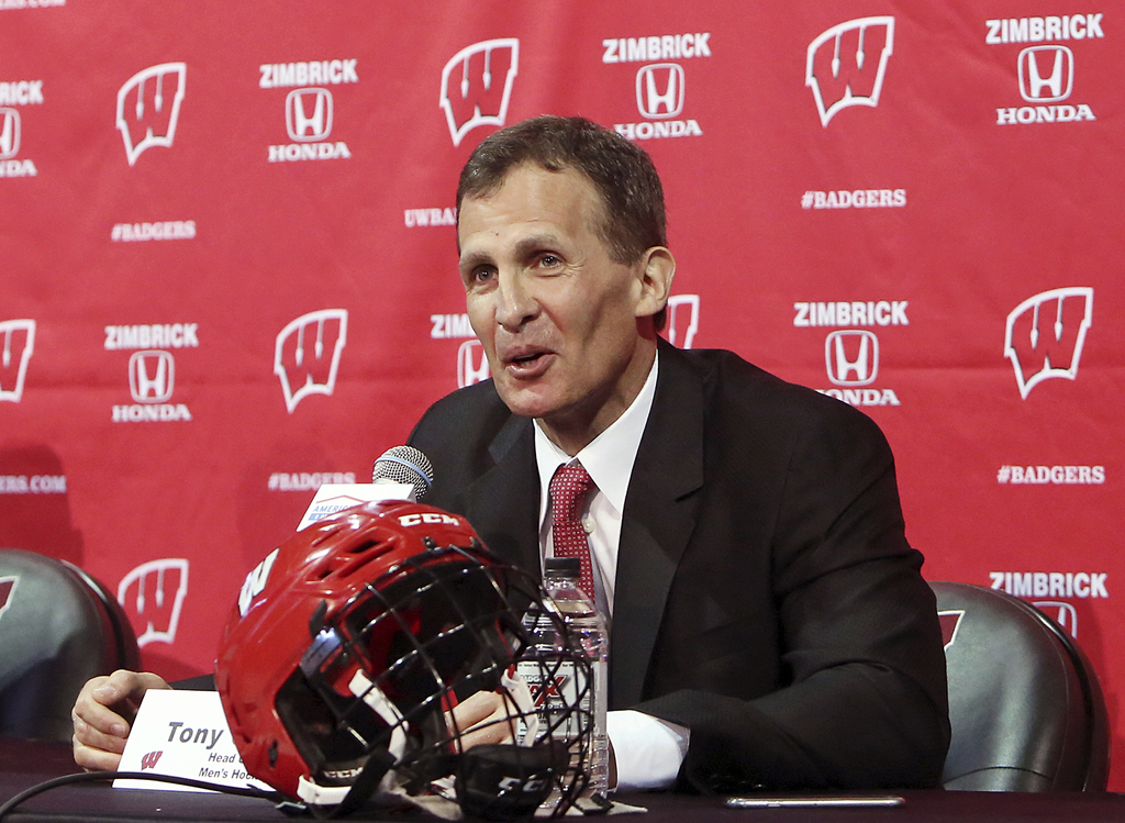 FILE - In this March 30, 2016, file photo, Tony Granato speaks at a press conference where he was introduced as the new head coach for the University ...