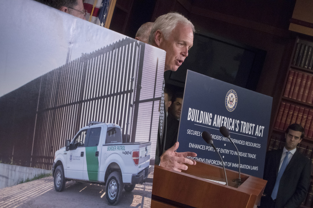 Senate Homeland Security and Governmental Affairs Chairman Sen. Ron Johnson, R-Wis. speaks to reporters about border security during a news conference...