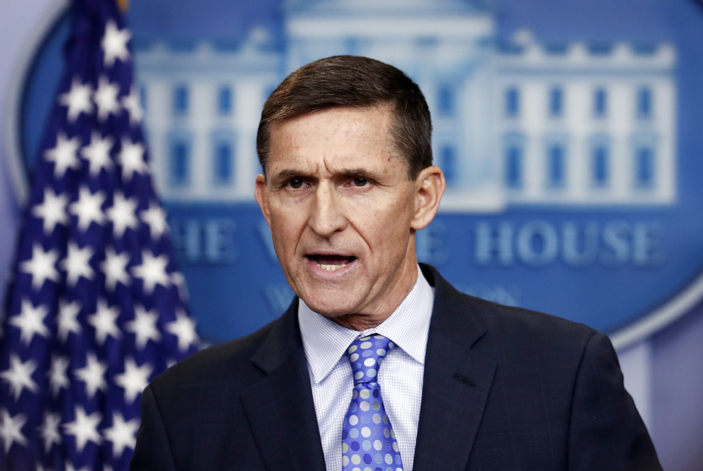 FILE - In this Feb. 1, 2017 file photo, then-National Security Adviser Michael Flynn speaks during the daily news briefing at the White House, in Wash...