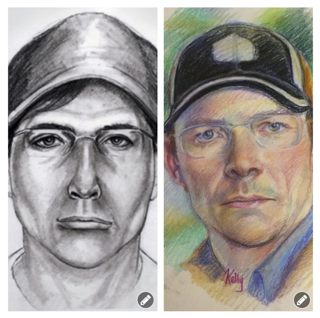 This artist's sketch provided by the Aberdeen Police Department shows the original sketch, left and updated, at right, of the person who abducted Cal ...