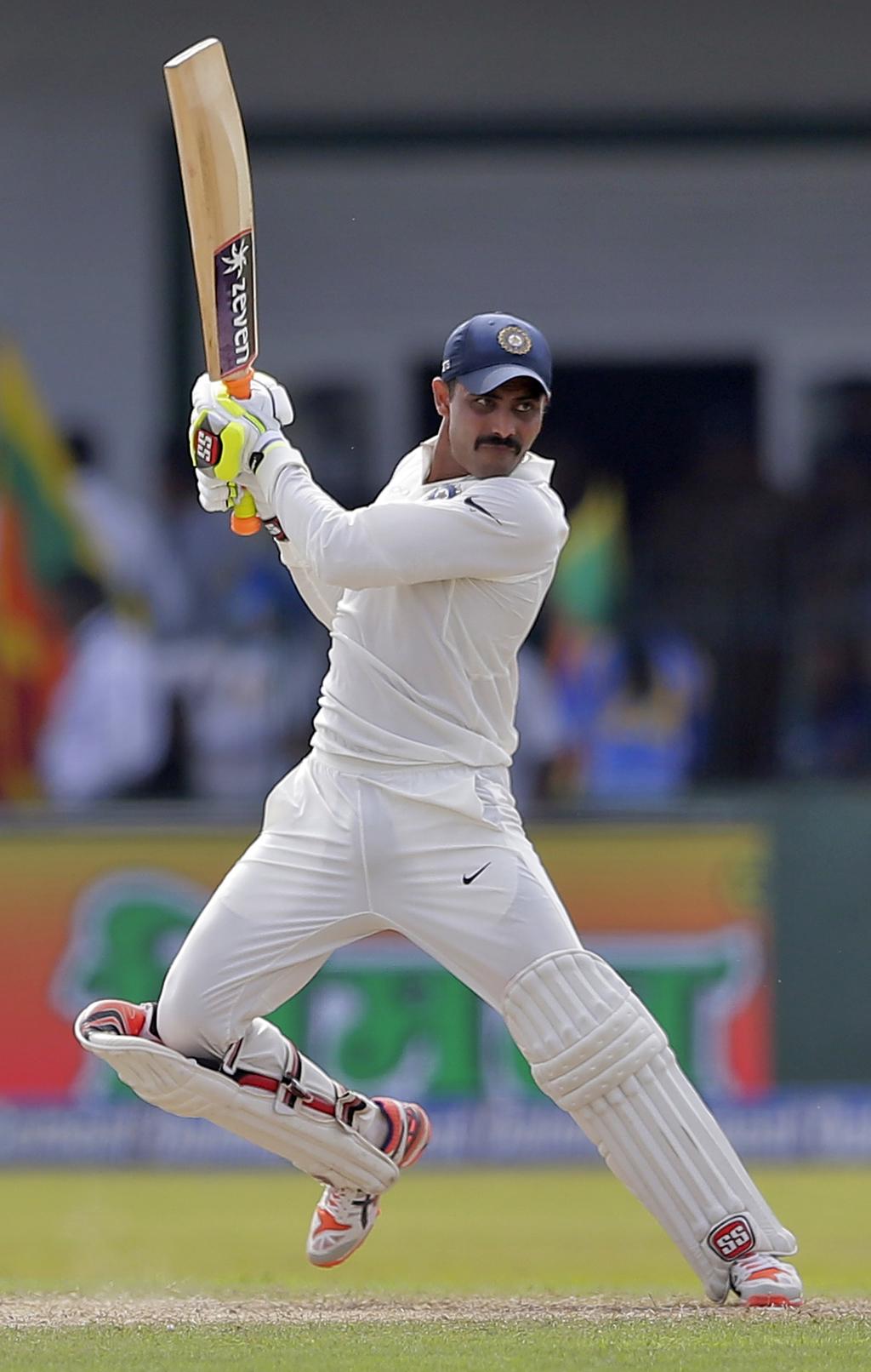 India's Ravindra Jadeja watches his shot during their second cricket test match against Sri Lanka in Colombo, Sri Lanka, Friday, Aug. 4, 2017. (AP Pho...