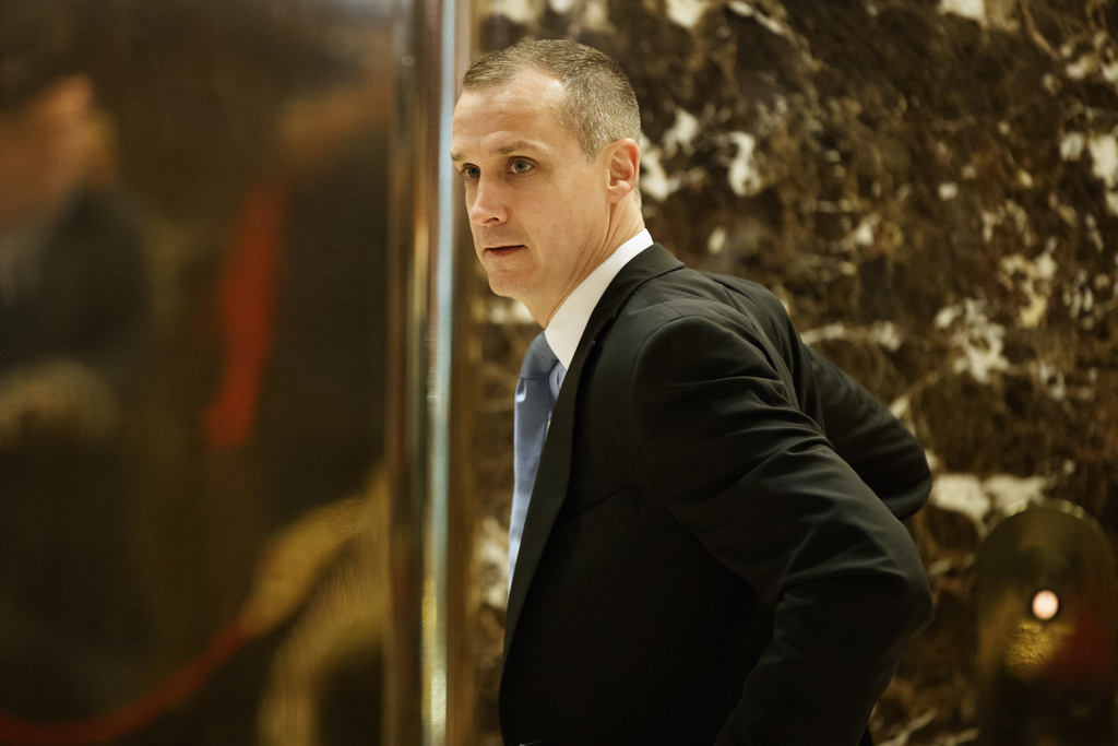 FILE - In this Nov. 29, 2016 file photo, Corey Lewandowski talks with reporters at Trump Tower in New York. Lewandowski is parlaying his close relatio...