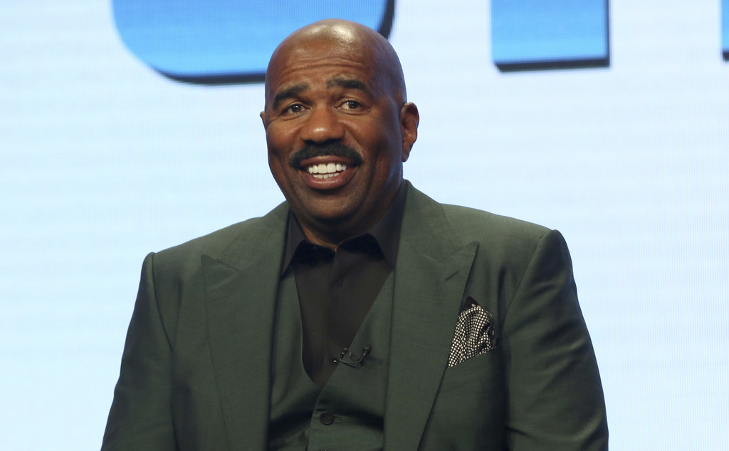 "Host/executive producer Steve Harvey participates in the ""Steve"" panel during the NBC Television Critics Association Summer Press Tour at the Beverly ..."