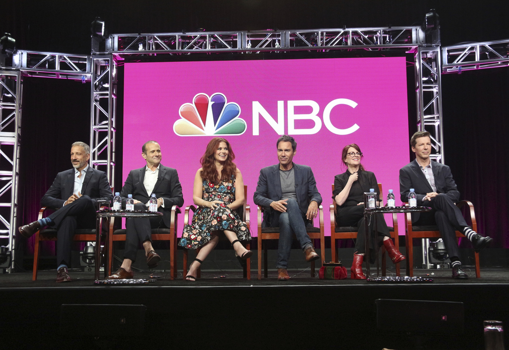Co-creator/executive producers David Kohan, from left, and Max Mutchnick and actors Debra Messing, Eric McCormack, Megan Mullally and Sean Hayes parti...