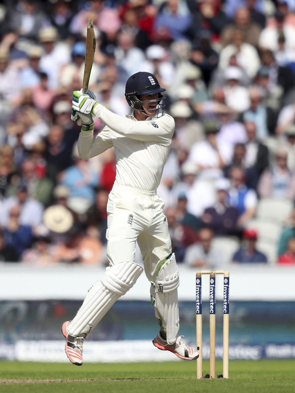 England's Keaton Jennings plays a shot against South Africa during the fourth cricket Test match between England and South Africa at Old Trafford, cri...