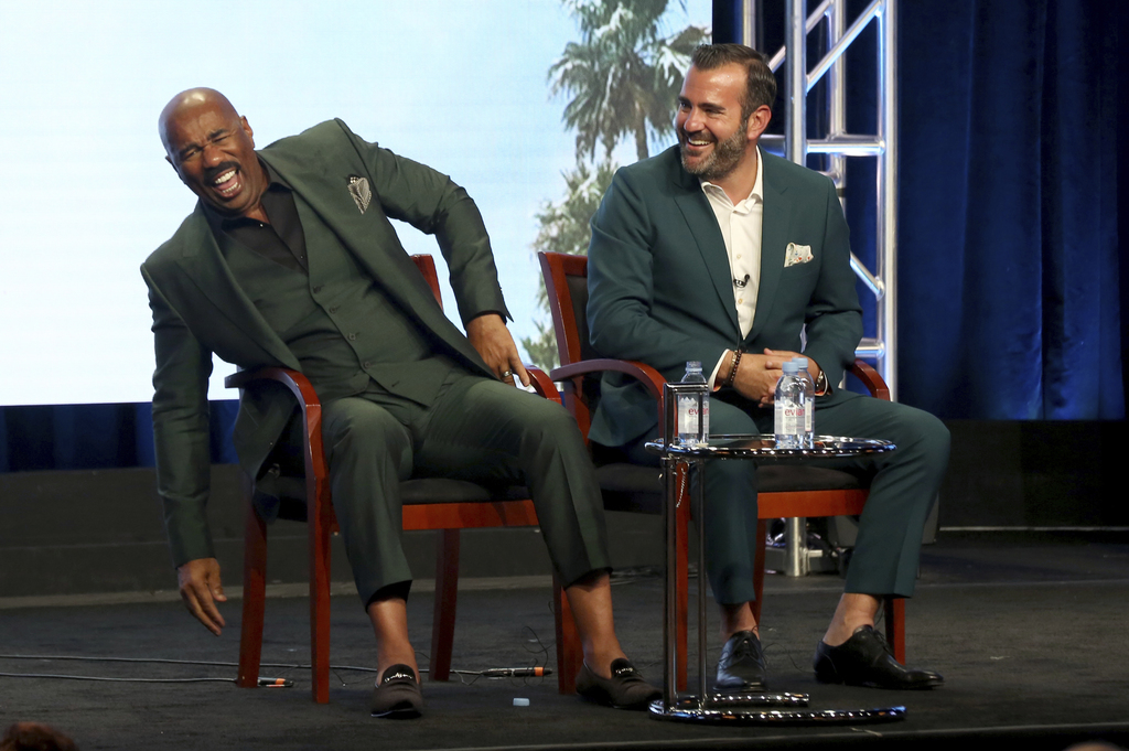 "Host/executive producer Steve Harvey, left, and executive producer Shane Farley participate in the ""Steve"" panel during the NBC Television Critics Ass..."