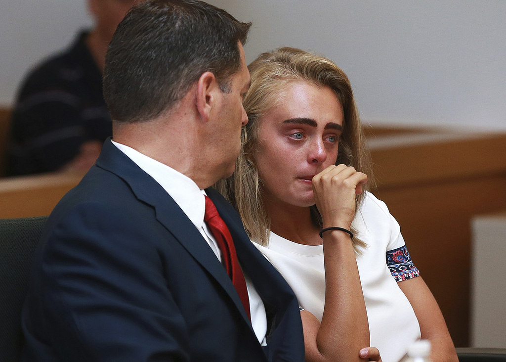 Michelle Carter awaits her sentencing in a courtroom in Taunton, Mass., Thursday, Aug. 3, 2017, for involuntary manslaughter for encouraging Conrad Ro...