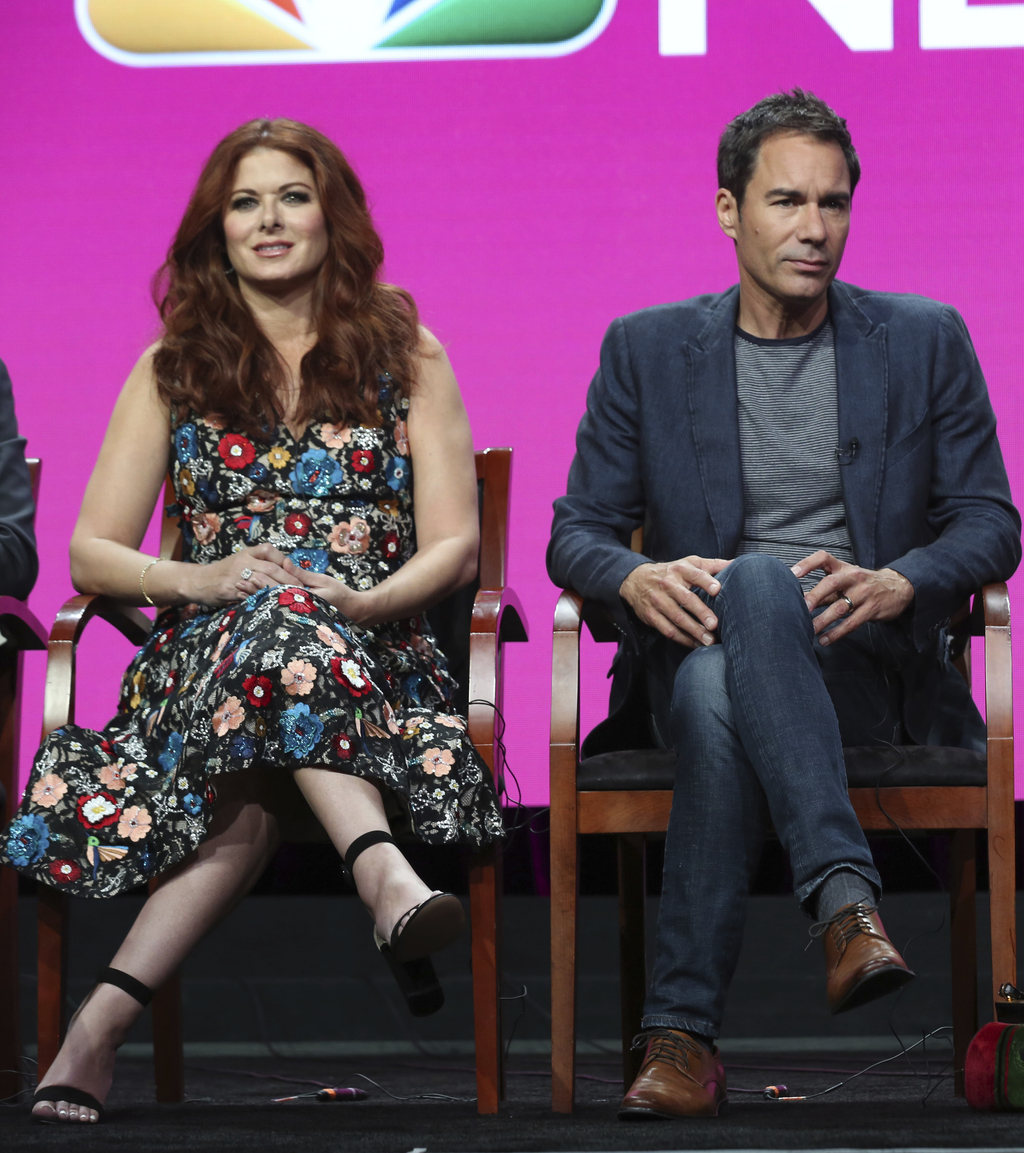 "Debra Messing, left, and Eric McCormack participate in the ""Will & Grace"" panel during the NBC Television Critics Association Summer Press Tour at the..."