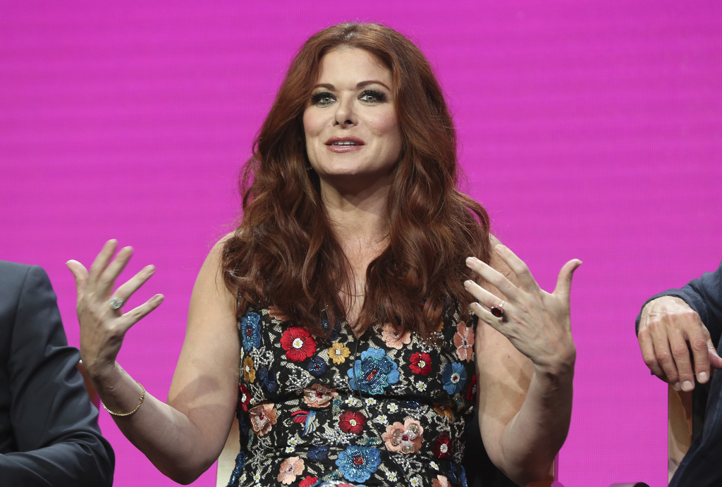 "Debra Messing participates in the ""Will & Grace"" panel during the NBC Television Critics Association Summer Press Tour at the Beverly Hilton on Thursd..."