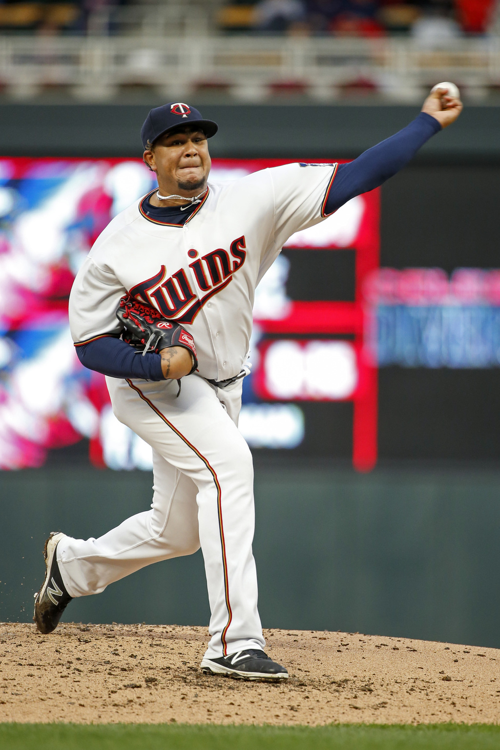 Minnesota Twins starting pitcher Adalberto Mejia throws to the Texas Rangers in the second inning of a baseball game Thursday, Aug. 3, 2017, in Minnea...