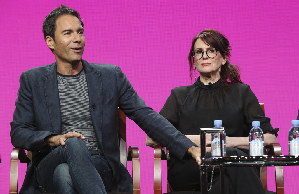 "Eric McCormack, left, and Megan Mullally participate in the ""Will & Grace"" panel during the NBC Television Critics Association Summer Press Tour at th..."