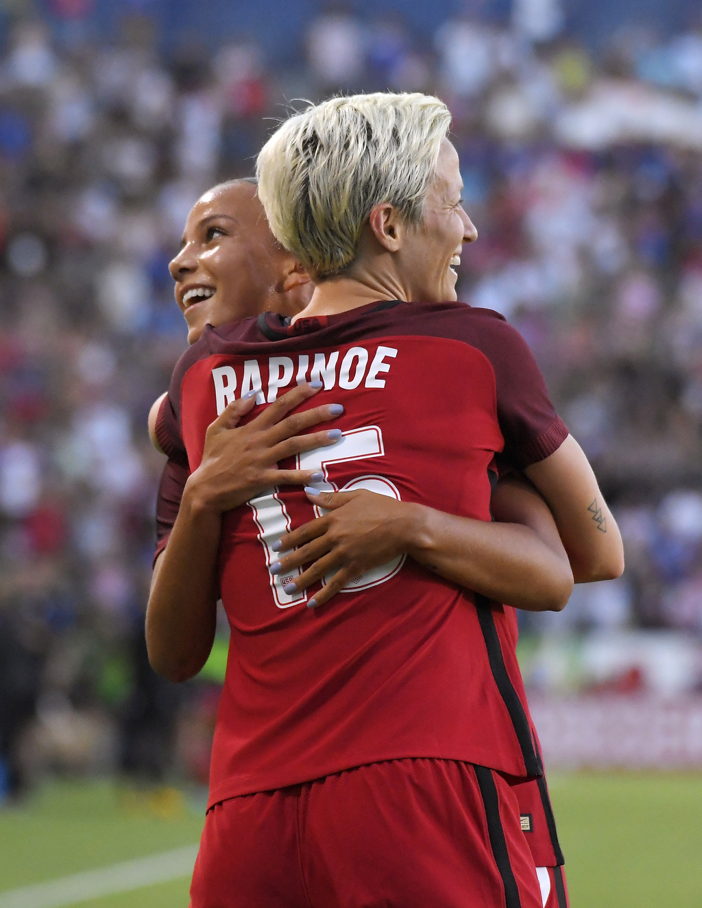 United States' Megan Rapinoe, front, celebrates her goal with Mallory Pugh during the first half against Japan in a Tournament of Nations soccer match...
