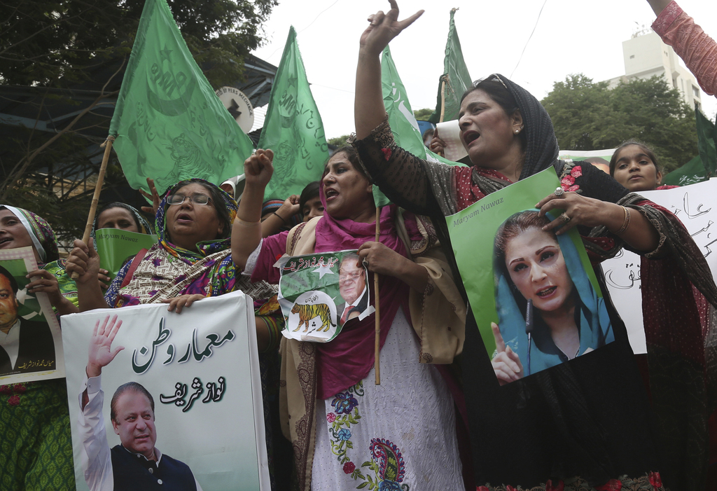 Supporters of Pakistani deposed Prime Minister Nawaz Sharif rally in favor of their leader in Karachi, Pakistan, Thursday, Aug. 3, 2017. The Supreme C...