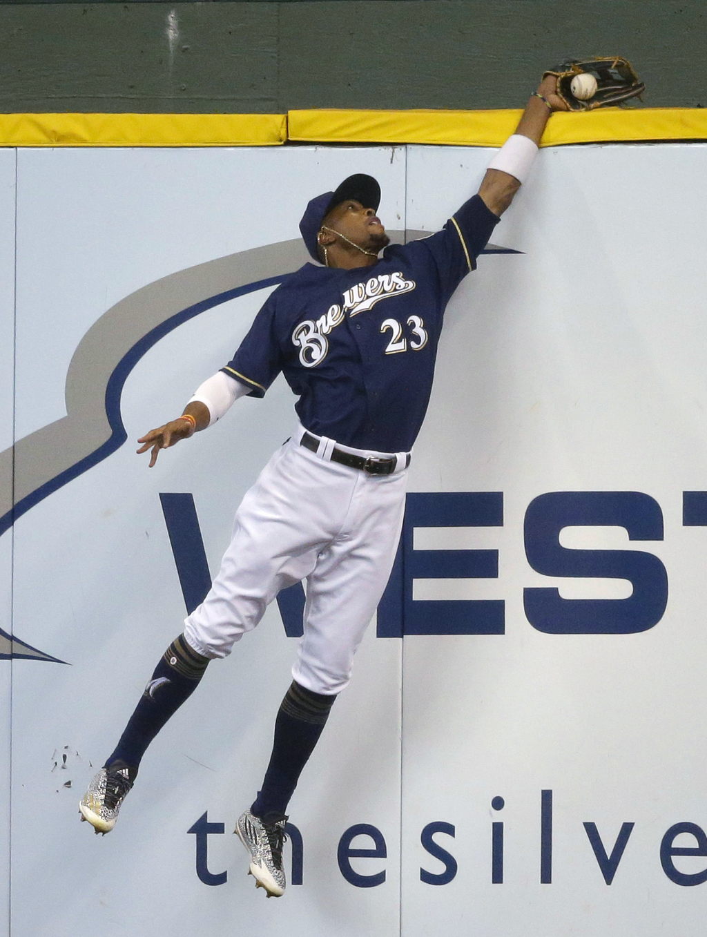 Milwaukee Brewers' Keon Broxton catches a ball off the bat of St. Louis Cardinals' Jose Martinez during the second inning of a baseball game Thursday,...