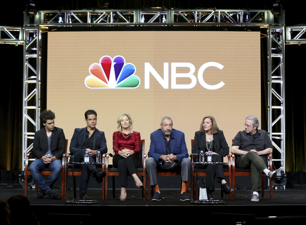 CORRECTS DATE TO AUG 3 - Gus Halper, from left, Miles Gaston Villanueva, Edie Falco, Dick Wolf, Lesli, Linka Glatter and Rene Balcer participate in th...
