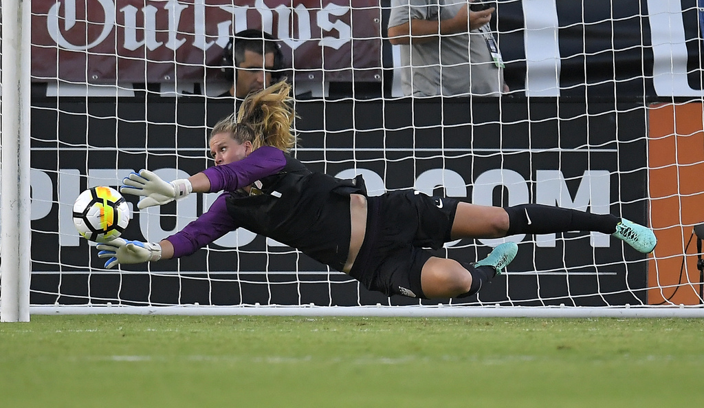 U.S. goalkeeper Alyssa Naeher stops a Japan shot during the first half of a Tournament of Nations soccer match Thursday, Aug. 3, 2017, in Carson, Cali...