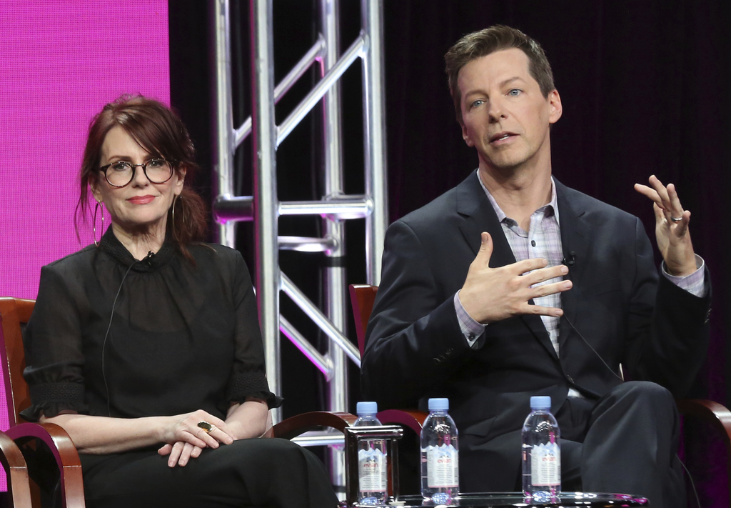 "Megan Mullally, left, and Sean Hayes participate in the ""Will & Grace"" panel during the NBC Television Critics Association Summer Press Tour at the Be..."