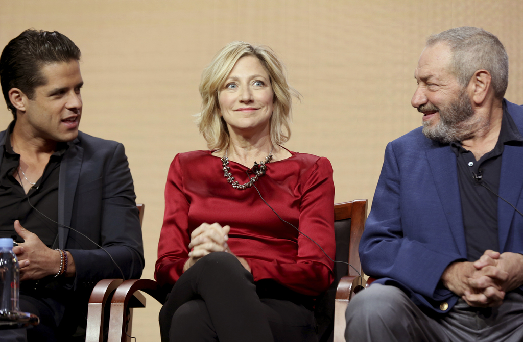 "Miles Gaston Villanueva, from left, Edie Falco and Dick Wolf participate in the ""Law & Order True Crime: The Menendez Murders"" panel during the NBC Te..."