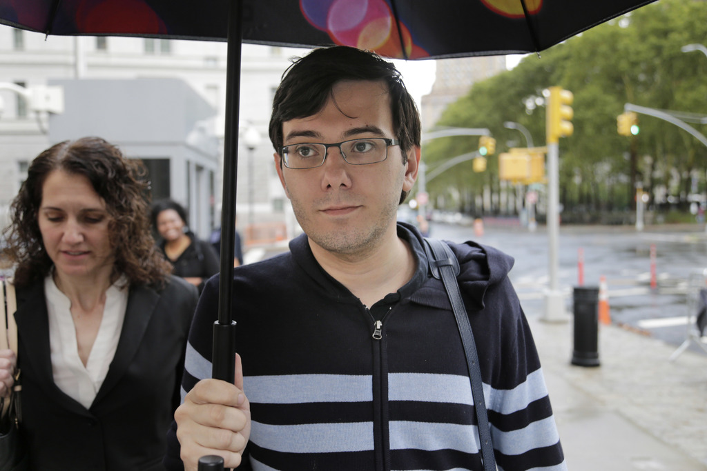 Martin Shkreli arrives at federal court in New York, Friday, Aug. 4, 2017. Jurors are starting their fifth day of deliberations at the federal securit...
