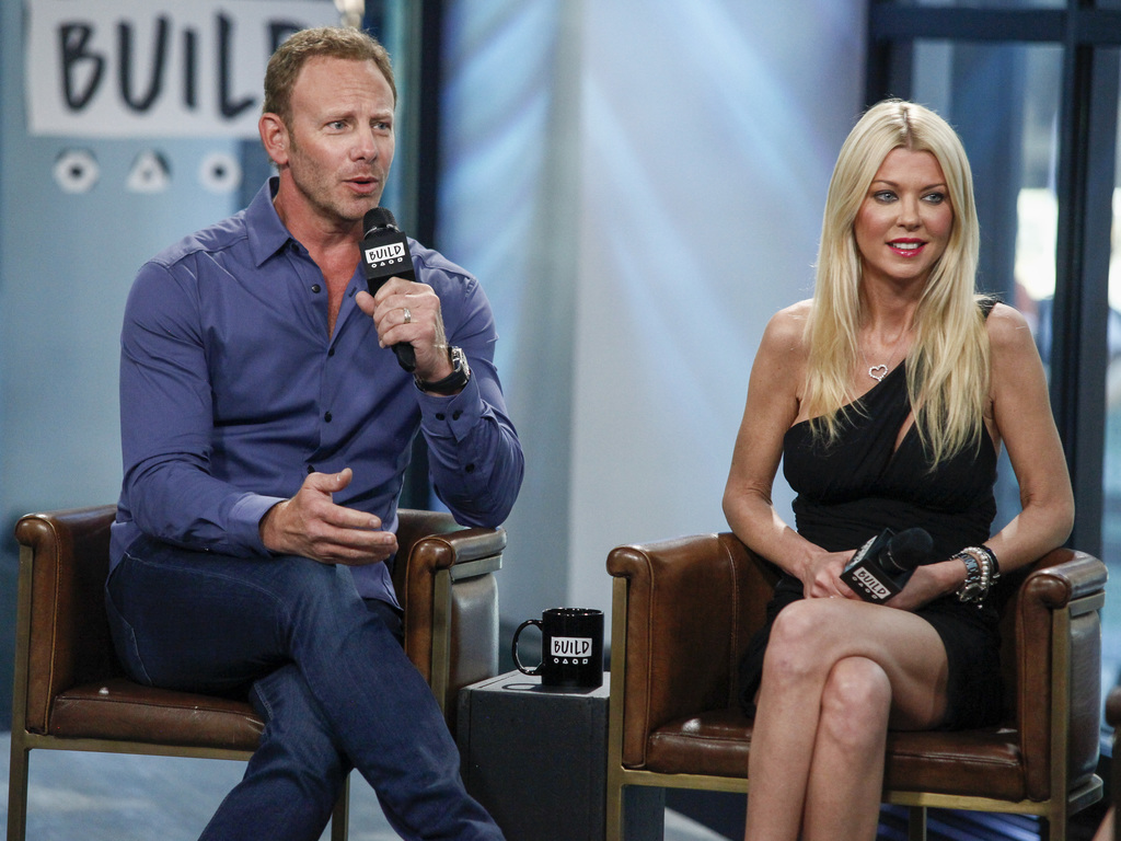 "FILE - In this Aug. 3, 2017 file photo, cast members Ian Ziering, left, and Tara Reid participate in the BUILD Speaker Series to discuss ""Sharknado 5:"