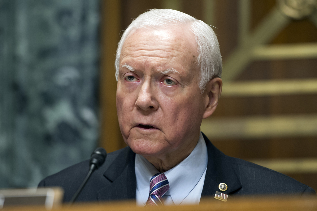 FILE - In this April 6, 2017 file photo, Sen. Orrin Hatch, R-Utah speaks on Capitol Hill in Washington. Republicans have little to show for their firs...