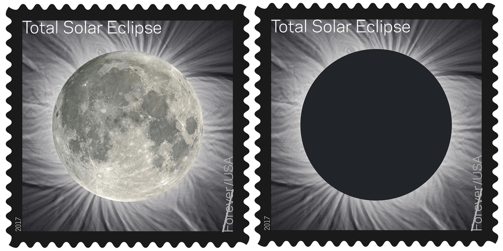FILE - These undated images provided by the U.S. Postal Service shows the Total Solar Eclipse Forever stamp. On Tuesday, June 20, 2017, the U.S. Posta...