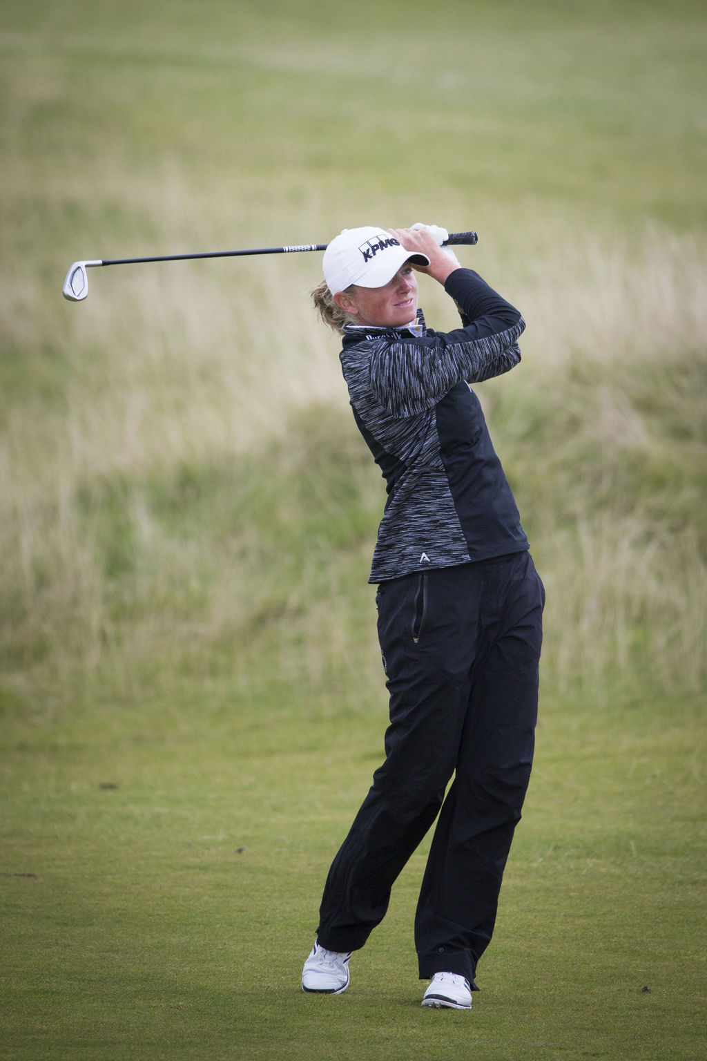 USA's Stacey Lewis plays her approach shot into the 15th hole, during day three of the Women's British Open at Kingsbarns Golf Links, St Andrews, Scot...