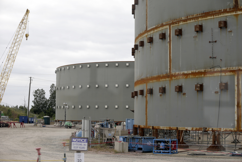 FILE - In this Sept. 21, 2016 file photo, parts of a containment building for the V.C. Summer Nuclear Station is shown near Jenkinsville, S.C., during...
