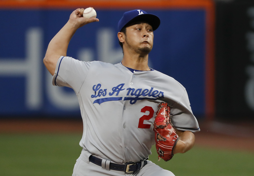 Los Angeles Dodgers starting pitcher Yu Darvish delivers against the New York Mets during the first inning of a baseball game, Friday, Aug. 4, 2017, i...