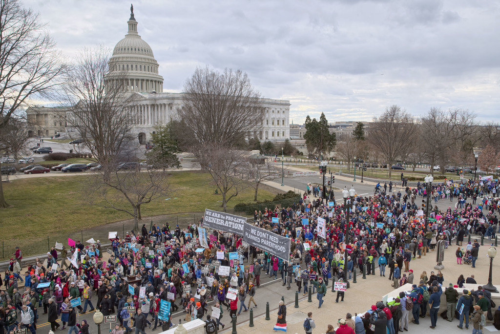 FILE - In this Friday, Jan. 27, 2017 file photo, anti-abortion demonstrators arrive on Capitol Hill in Washington during the March for Life, marking t...