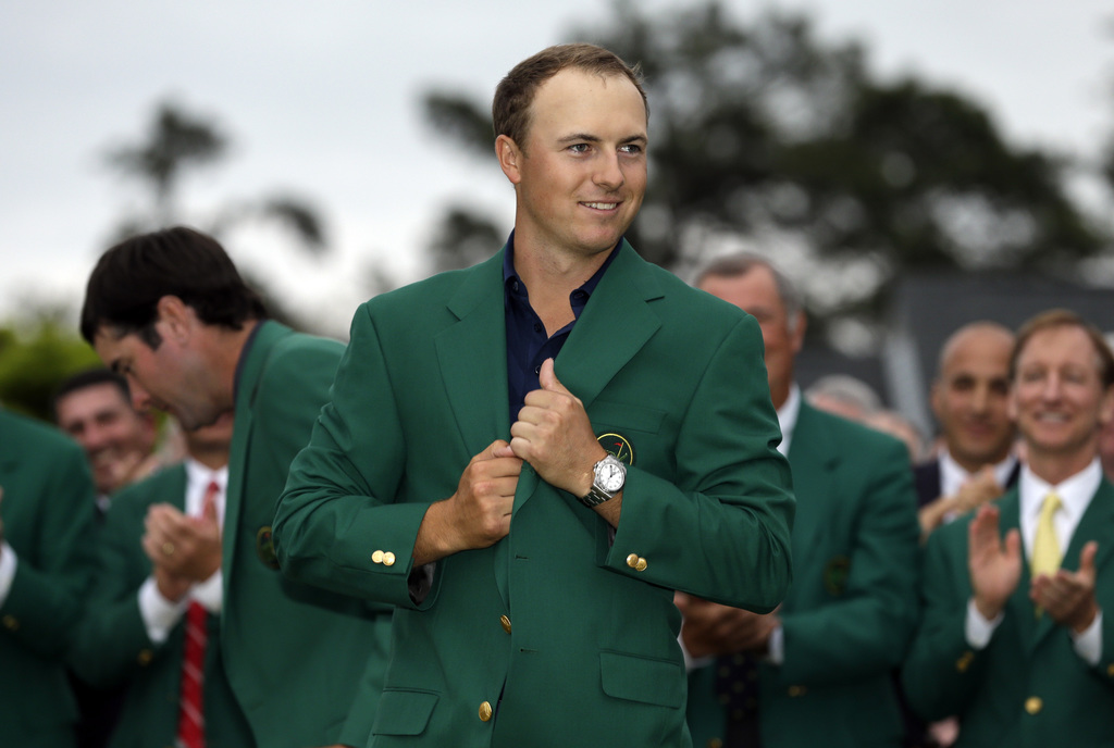 FILE - In this April 12, 2015, file photo, Jordan Spieth wears his green jacket after winning the Masters golf tournament in Augusta, Ga. Spieth under...
