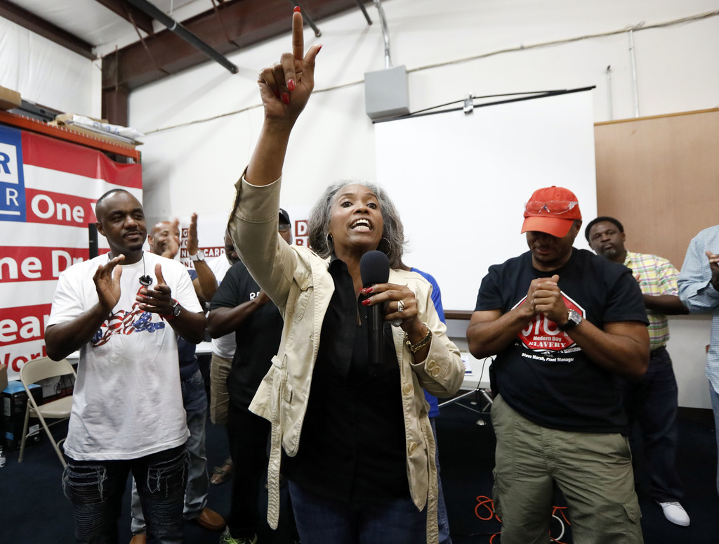 Nissan employee Betty Jones expresses her disappointment at pro-union supporters losing their bid to form a union at the Nissan vehicle assembly plant...