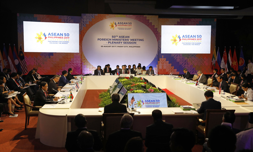 ASEAN Foreign Ministers take part in a meeting of the 50th Association of Southeast Asia Nations (ASEAN) Regional Forum in Manila, Philippines, Saturd...