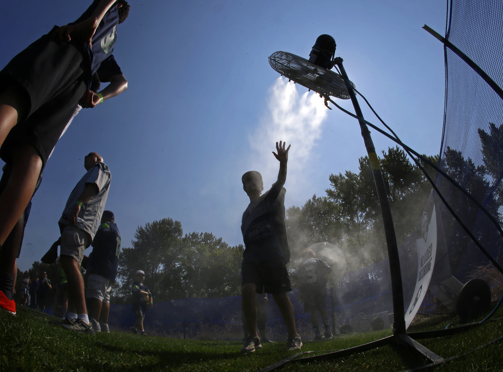 A fan attending a Seattle Seahawks NFL football training camp reaches toward a fan as he cools off at a misting station, Tuesday, Aug. 1, 2017, in Ren...