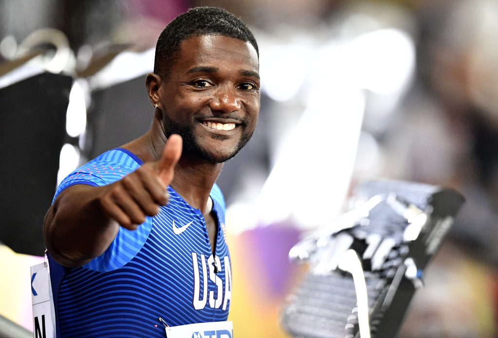 United States' Justin Gatlin gestures after his heat in the Men's 100 meters during the World Athletics Championships in London Friday, Aug. 4, 2017. ...