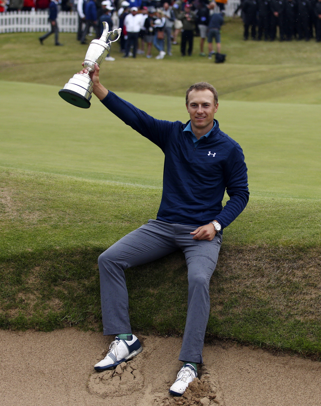 FILE - In this July 23, 2017, file photo, Jordan Spieth, of the United States, holds the Claret Jug trophy after winning the British Open Golf Champio...