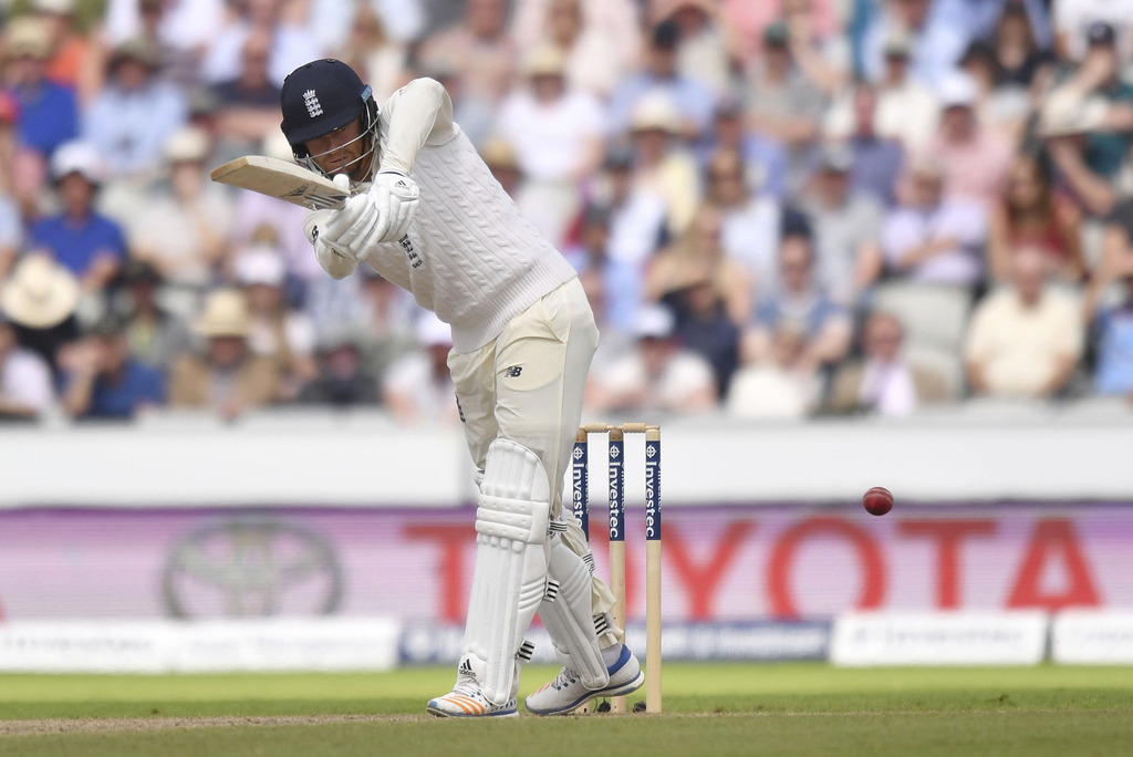 England's Jonny Bairstow bats during day two of the Fourth Test at Emirates Old Trafford in Manchester, England, Saturday Aug. 5, 2017. (Anthony Devli...