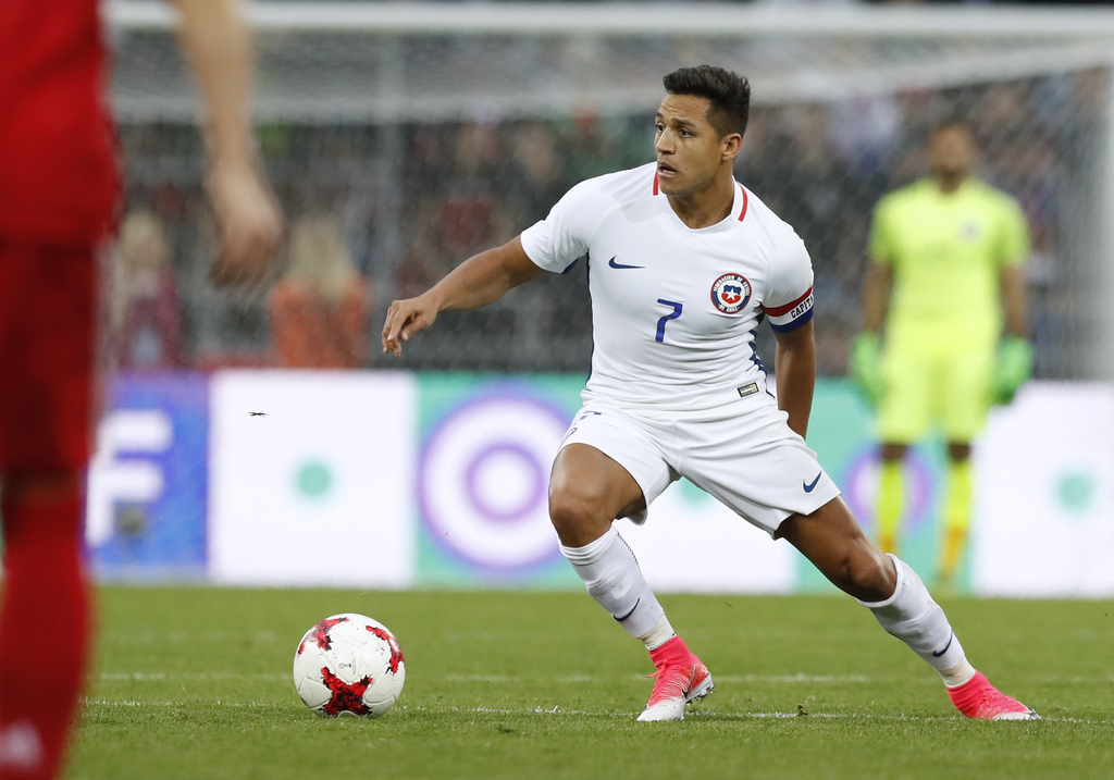 FILE - In this Friday, June 9, 2017 file photo, Chile's Alexis Sanchez during the international friendly soccer match between Russia and Chile at the ...