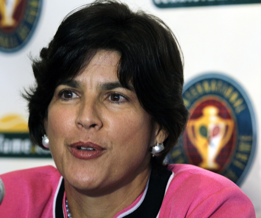 FILE - In this July 10, 2010, file photo, tennis player Gigi Fernandez, of Puerto Rico, speaks during a news conference prior to being inducted with d...