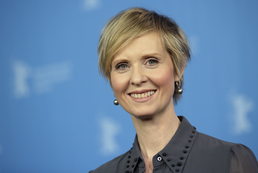 FILE - In this Sunday, Feb. 14, 2016 file photo, Actress Cynthia Nixon poses for the photographers during a photo call for the film 'A Quiet Passion' ...