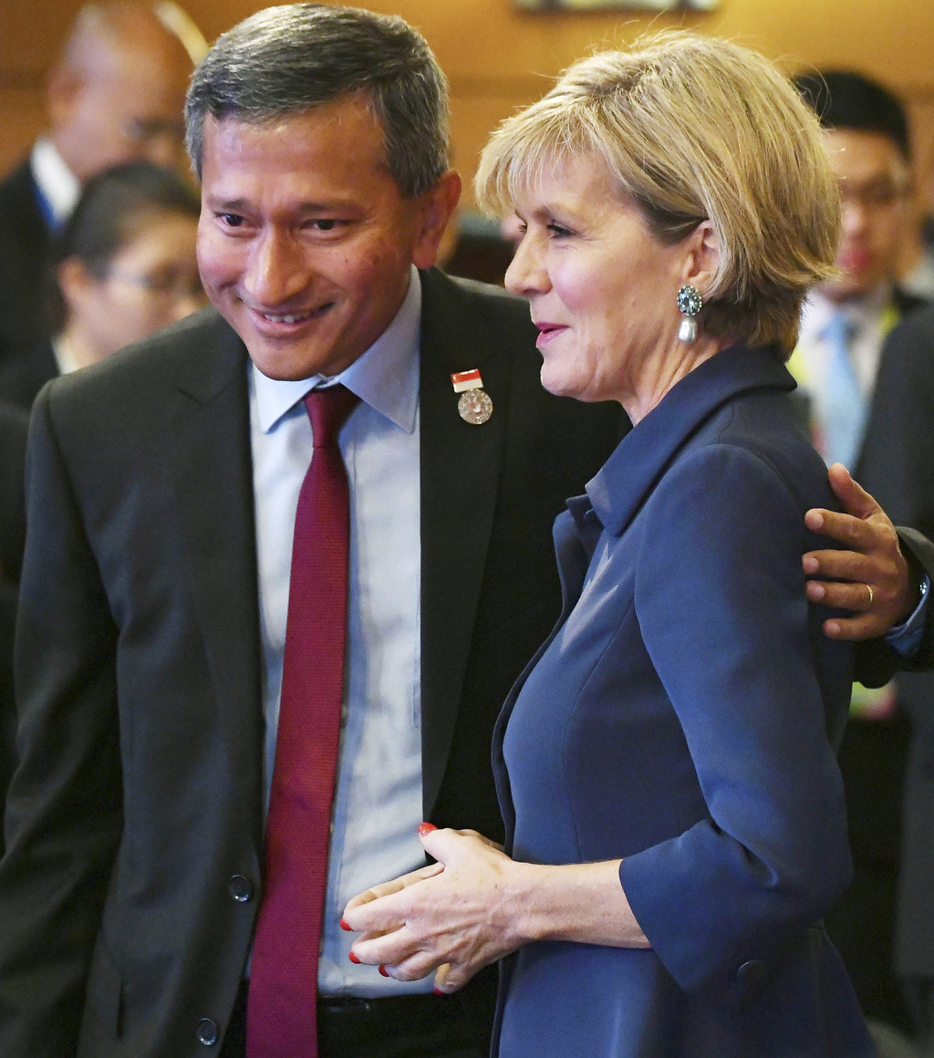 Australia's Foreign Minister Julie Bishop, right, chats with Singaporean Foreign Minister Vivian Balakrishnan during the ASEAN-Australia ministerial m...