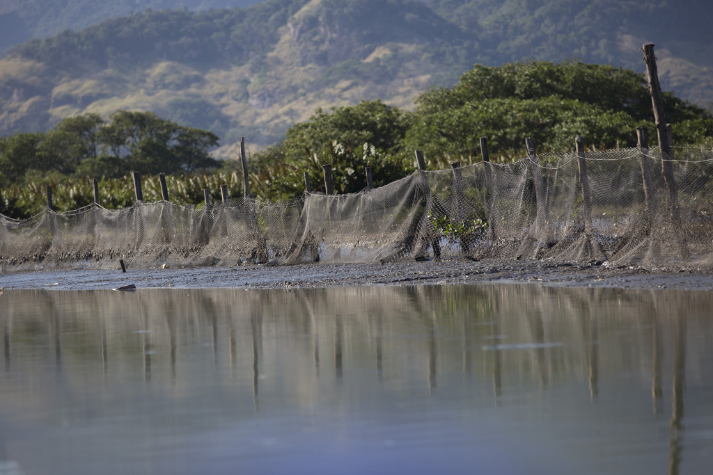 In this July 31, 2017 photo, a trash barrier hold back the surface filth at the heavily polluted Jacarepagua lagoon, in Rio de Janeiro, Brazil. Rio pl...