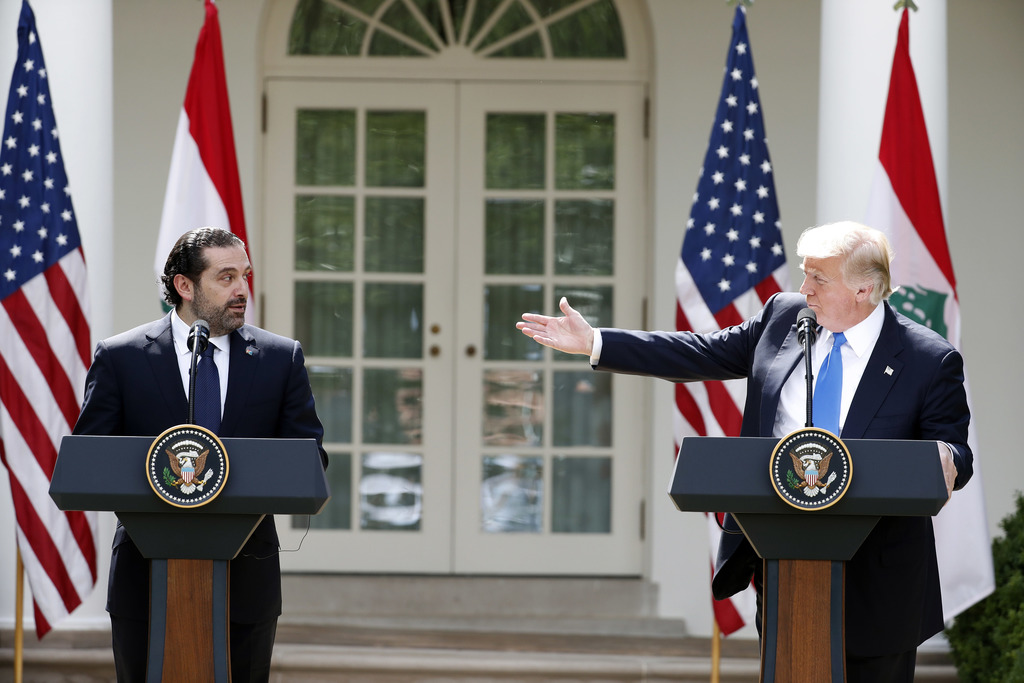 FILE - This Tuesday, July 25, 2017 file photo, president Donald Trump speaks during a joint news conference with Lebanese Prime Minister Saad Hariri i...