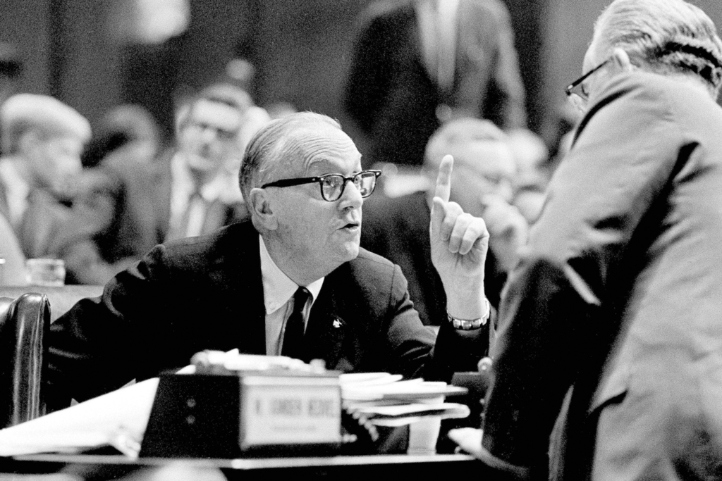 FILE - In this Aug 29, 1967, file photo, Judge Charles S. Desmond, left, talks with fellow delegate Peter J. Crotty, after he spoke during the Constit...
