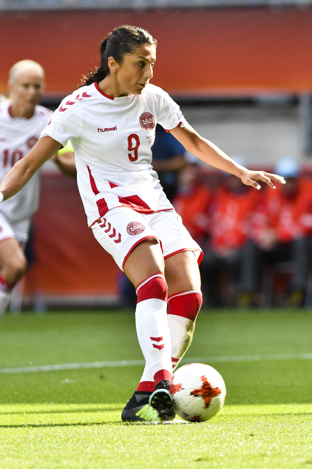 Denmark's Nadia Nadim kicks a penalty during the Women's Euro 2017 final soccer match between Netherlands and Denmark in Enschede, the Netherlands, Su...