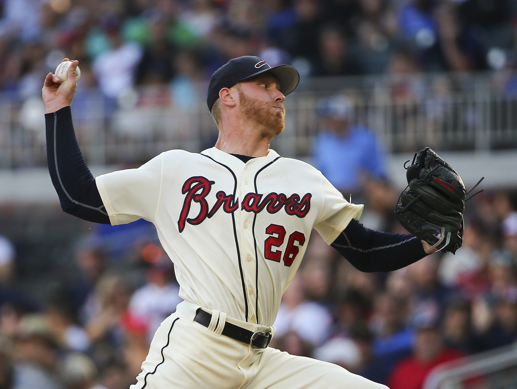 Atlanta Braves starting pitcher Mike Foltynewicz works in the first inning of a baseball game against the Miami Marlins, Saturday, Aug. 5, 2017, in At...