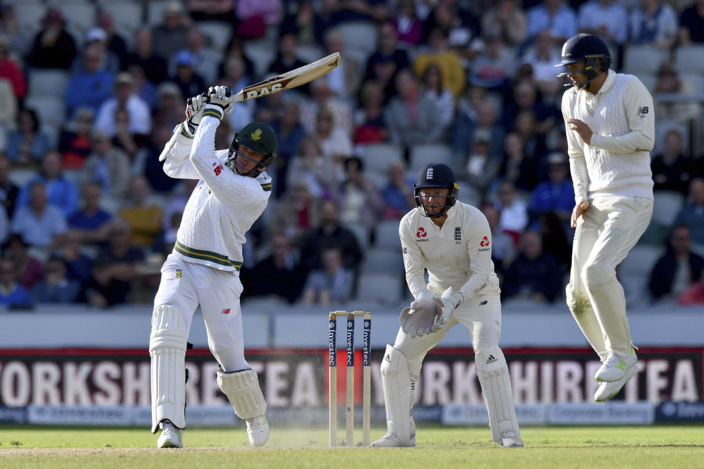 South Africa's Morne Morkel bats during day two of the fourth cricket test between England and South Africa at Emirates Old Trafford, Manchester, Engl...